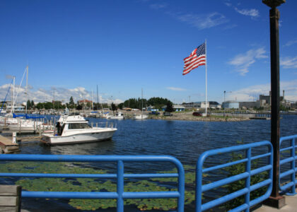Alpena Harbor with Flag